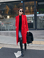 Women's Solid / Color Block Red / White / Gray Coat , Casual Long Sleeve Nylon / Cotton Blends