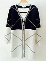 Women's Patchwork Black / Gray Cardigan , Casual Long Sleeve