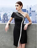 Vestido - preto Festa de Coquetel Tubo/Coluna Assimétrico Mini Jersey