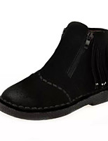 Women's Shoes Flat Heel Round Toe Boots Casual Black / Burgundy / Khaki