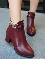 Women's Shoes British Style Rivet Chunky Heel Bootie / Pointed Toe Boots Dress / Casual Black / Burgundy