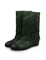Chaussures Femme - Habillé / Décontracté - Noir / Vert / Kaki - Talon Plat - Bout Arrondi / Bottes à la Mode - Bottes - Cuir