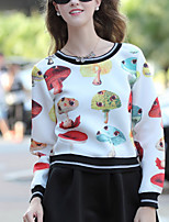 Women's Print White Hoodies , Casual Round Neck Long Sleeve