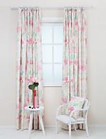 dois painéis de algodão poli print floral cortina
