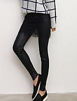 Women Solid Color / Fleece Lined Legging , Lace / PU Medium