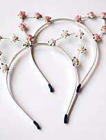 Floral Cat Ears Headband In Ivory White For Coachella, Music Festival, Folk Fest, Bonnaroo