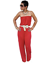 Women's Solid Red Jumpsuits , Casual Strapless Sleeveless