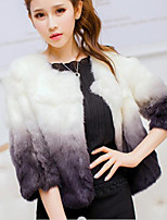 Women Fashion Gradient Faux Fur Round Collar Outerwear