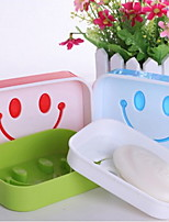 Smile Cartoon Travel Portable Double Layer Soap Box Dish For Men Women