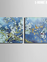 E-HOME® Flowers And Birds Clock in Canvas 2pcs