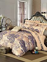 estilo retro royal flor roxa da cama jacquard set 4 peças