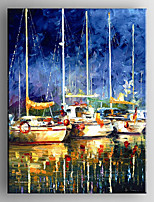 Oil Painting  Impression Boat Landscape Hand Painted Canvas with Stretched Framed Ready to Hang