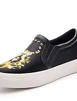 Women's Shoes Synthetic Flat Heel Creepers / Comfort Flats / Loafers Party & Evening / Dress / Casual Black / White