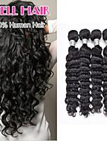 extensions pouces brésilienne de cheveux vierge profonde vague cheveux humains pas cher 3 faisceaux 8'-30 'cheveux naturels noirs