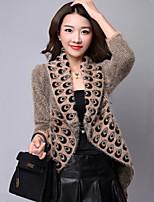 Women's Print Pink / Black / Yellow Shrug , Casual Long Sleeve
