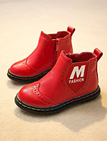 Girls' Shoes Outdoor / Dress / Casual Fashion Boots / Round Toe Faux Fur / Patent Leather Boots Black / Pink / Red