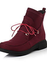 Women's Shoes Stretch Satin Fleece Chunky Heel / Fashion Boots / Round Toe Boots Dress / Casual Black / Burgundy