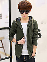 Men's Long Sleeve Jacket ,Casual / Plus Sizes Pure Slim Hoodie Cotton / Nylon