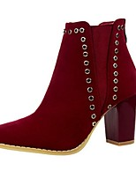 Women's Shoes  Chunky Heel Fashion Boots / Round Toe Boots Outdoor / Casual Black / Brown / Red / Beige / Khaki