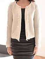 Women's Solid Beige Cardigan , Casual Long Sleeve
