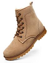 Plus velvet Men's Boots Fall / Winter Comfort Suede Outdoor / Office & Career / Casual Flat Heel Lace-up Black / Blue / Beige