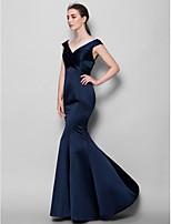 Vestido de Dama de Honor - Azul Marino Oscuro Corte Sirena Escote en V - Hasta el Suelo Satén