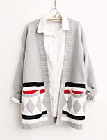 Women's Geometric Black / Gray Cardigan , Casual Long Sleeve