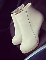 Women's Shoes Chunky Heel Round Toe Boots Casual Black / Pink / Beige