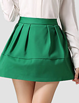 Spring Women's Solid Blue / Red / Black / Green Wild thin pleated Party / Work Mini Skirts
