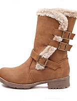 Women's Shoes Leatherette Chunky Heel Pointed Toe Boots Casual Black / Brown / Khaki