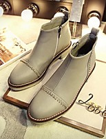 Women's Shoes Low Heel Fashion Boots / Closed Toe Boots Casual Black / Gray