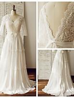 Hochzeitskleid - Elfenbein Chiffon / Spitze - A-Linie - Blusher/ Pinsel -Schleppe - V-Ausschnitt
