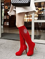 Women's Shoes Leatherette Chunky Heel Heels / Round Toe Boots Outdoor / Office & Career Black / Red