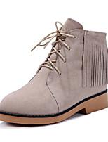 Chaussures Femme - Habillé / Décontracté - Marron / Rouge / Beige - Talon Bas - Bout Arrondi / Bottes à la Mode - Bottes - Cuir