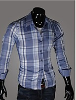 Men's Long Sleeve Shirt , Cotton Blend Casual / Work / Formal / Sport / Plus Sizes Striped / Plaids & Checks