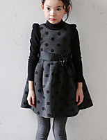 Girl's Beige Dress , Dot Cotton Winter / Fall