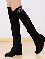 Women's Shoes Winter Fashion Wedge Heel Round Toe Over The Knee Boots Casual Black / Blue