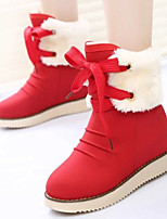 Women's Shoes Fashion Leisure Round Toe Flat Heel Comfort Boots Casual Black / Brown / Red