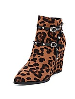 Women's Shoes  Wedge Heel Fashion Boots / Pointed Toe Boots Outdoor / Dress / Casual Black / Animal Print