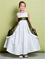 플라워 걸 드레스 - A라인 민소매 발목 길이 태피터