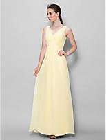Ankle-length Chiffon Bridesmaid Dress - Daffodil Sheath/Column V-neck