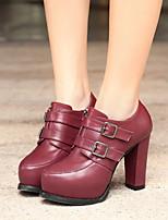 Women's Shoes Chunky Heel Heels Boots Casual Black / Gray / Burgundy