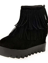 Women's Shoes Suede Flat Heel Round Toe Boots Casual Black / Gray / Burgundy