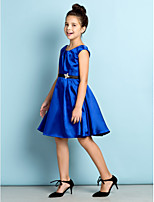 Knee-length Satin Junior Bridesmaid Dress - Royal Blue A-line Scoop