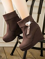 Women's Shoes Leatherette Wedge Heel Wedges / Round Toe Boots / Office & Career / Casual Black / Blue / Brown / Burgundy