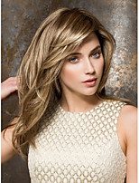 High Quality  Blonde Syntheic Wigs Extensions Medium Straight Hair Wig