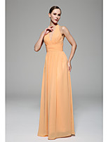 Floor-length Chiffon Bridesmaid Dress - Orange A-line Halter