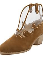 Women's Shoes Suede Chunky Heel Pointed Toe Heels Casual Black / Brown