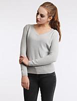 Women's Autumn Winter Fashion Plus Size V-Neck Sexy Cotton Knitting Base Casual Blouse