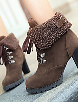 Women's Shoes Winter Fashion Chunky Heel Comfort Round Toe Boots Casual Black / Brown / Yellow